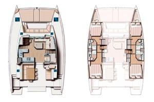 Planos de un Catamarán para hacer un viaje de navegación