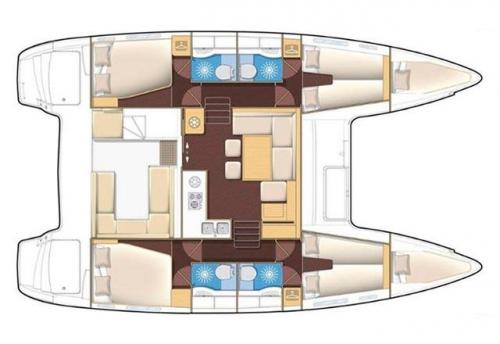 Plano de cabinas del Alquiler de Catamaran Lagoon 400 en Menorca