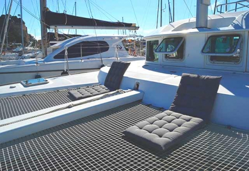 Proa del Alquiler de Catamaran Lagoon 38 en Denia